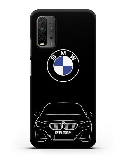 Чехол BMW 3 с автомобильным номером силикон черный для Xiaomi Redmi 9 Power