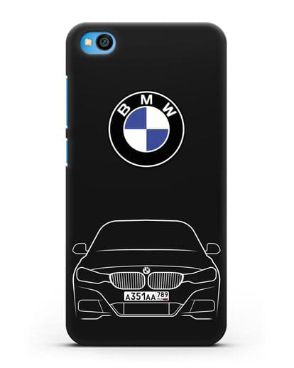 Чехол BMW 3 с автомобильным номером силикон черный для Xiaomi Redmi Go