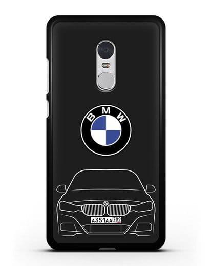 Чехол BMW 3 с автомобильным номером силикон черный для Xiaomi Redmi Note 4