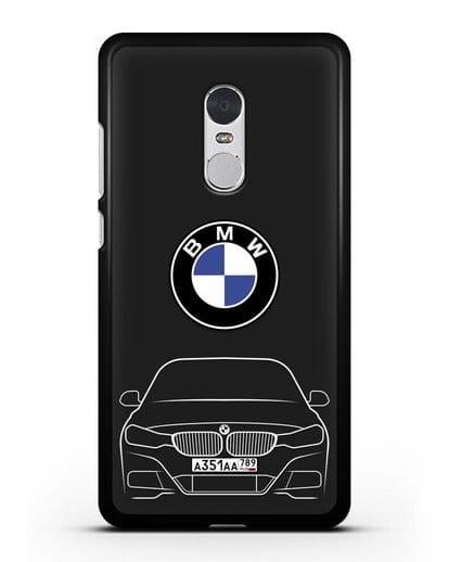 Чехол BMW 3 с автомобильным номером силикон черный для Xiaomi Redmi Note 4X