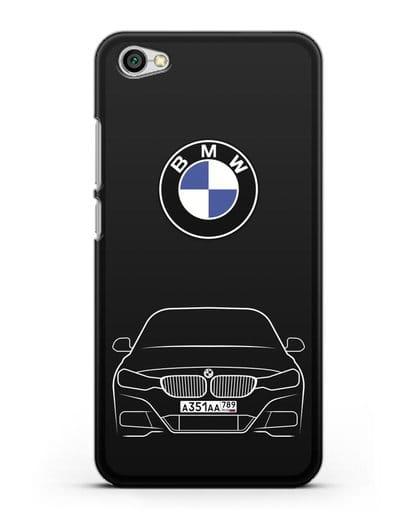 Чехол BMW 3 с автомобильным номером силикон черный для Xiaomi Redmi Note 5A