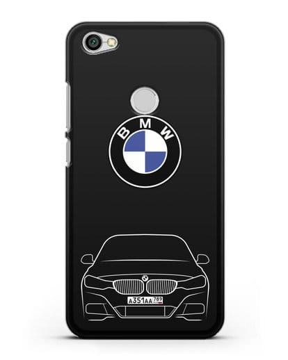 Чехол BMW 3 с автомобильным номером силикон черный для Xiaomi Redmi Note 5A Prime