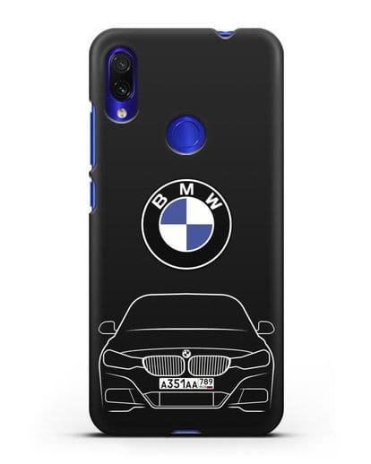 Чехол BMW 3 с автомобильным номером силикон черный для Xiaomi Redmi Note 7