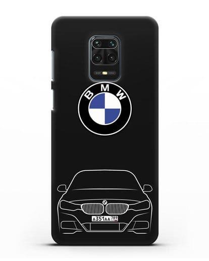 Чехол BMW 3 с автомобильным номером силикон черный для Xiaomi Redmi Note 9 Pro
