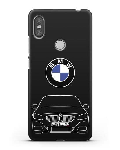Чехол BMW 3 с автомобильным номером силикон черный для Xiaomi Redmi S2