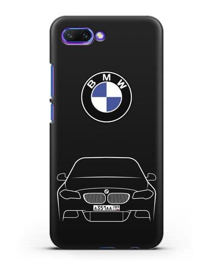 Чехол BMW 5 с автомобильным номером силикон черный для Honor 10