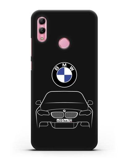 Чехол BMW 5 с автомобильным номером силикон черный для Honor 10 Lite