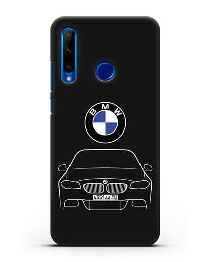 Чехол BMW 5 с автомобильным номером силикон черный для Honor 10i