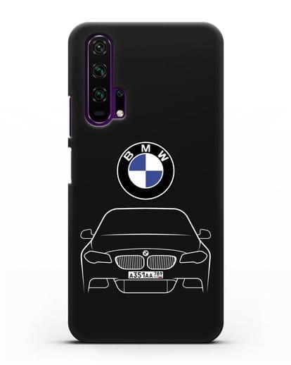 Чехол BMW 5 с автомобильным номером силикон черный для Honor 20 Pro