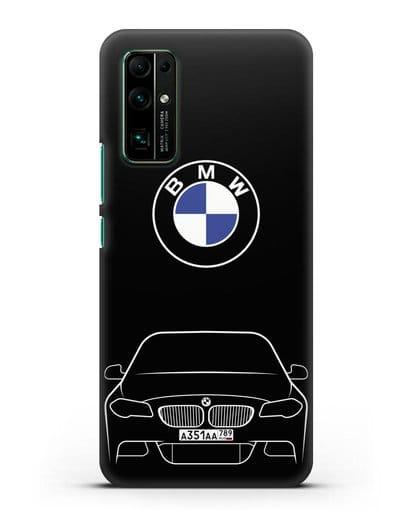 Чехол BMW 5 с автомобильным номером силикон черный для Honor 30