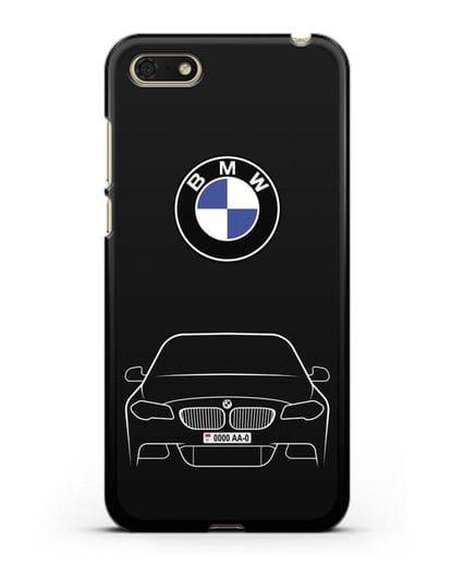 Чехол BMW 5 с автомобильным номером силикон черный для Honor 7А