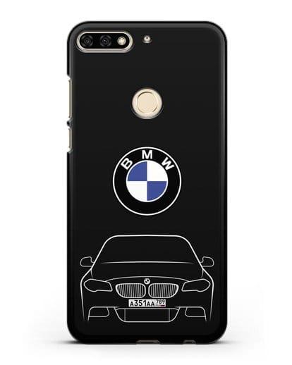 Чехол BMW 5 с автомобильным номером силикон черный для Honor 7C