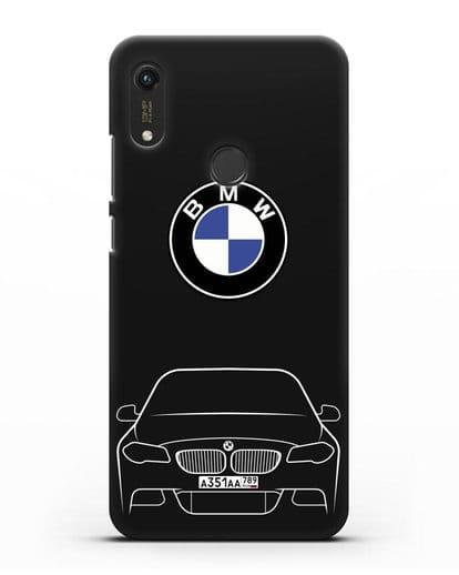 Чехол BMW 5 с автомобильным номером силикон черный для Honor 8A Prime
