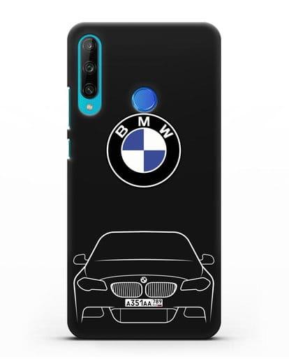 Чехол BMW 5 с автомобильным номером силикон черный для Honor 9C