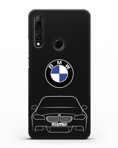 Чехол BMW 5 с автомобильным номером силикон черный для Honor 9X