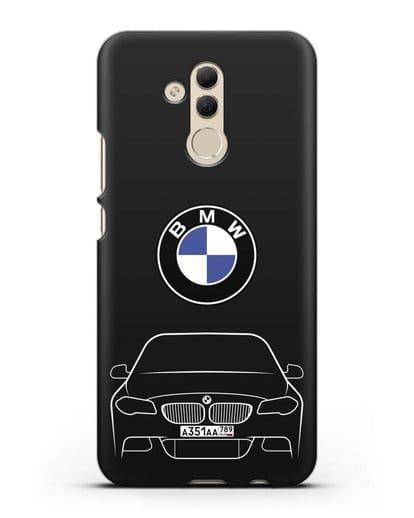 Чехол BMW 5 с автомобильным номером силикон черный для Huawei Mate 20 Lite