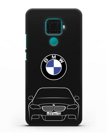 Чехол BMW 5 с автомобильным номером силикон черный для Huawei Mate 30 Lite