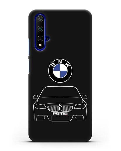 Чехол BMW 5 с автомобильным номером силикон черный для Huawei Nova 5T