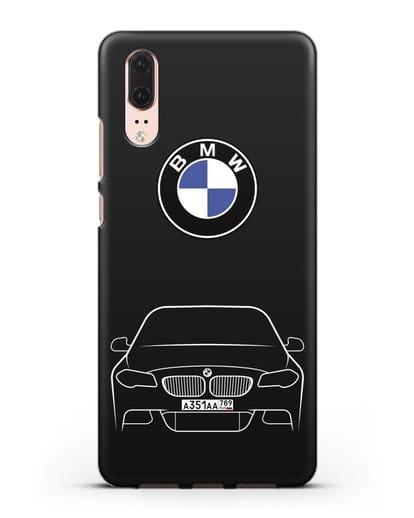 Чехол BMW 5 с автомобильным номером силикон черный для Huawei P20