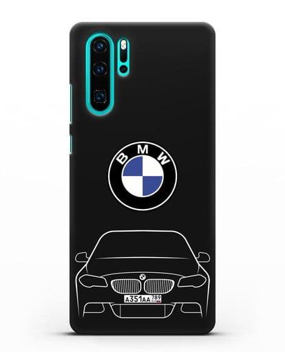 Чехол BMW 5 с автомобильным номером силикон черный для Huawei P30 Pro