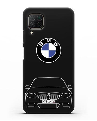 Чехол BMW 5 с автомобильным номером силикон черный для Huawei P40 lite