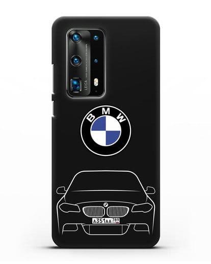 Чехол BMW 5 с автомобильным номером силикон черный для Huawei P40 Pro