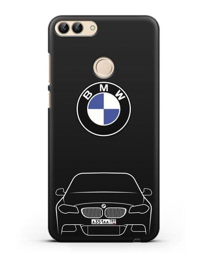 Чехол BMW 5 с автомобильным номером силикон черный для Huawei P Smart