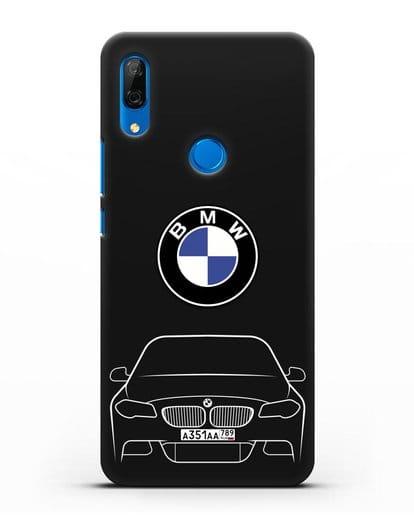 Чехол BMW 5 с автомобильным номером силикон черный для Huawei P Smart Z
