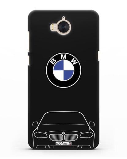 Чехол BMW 5 с автомобильным номером силикон черный для Huawei Y5 2017