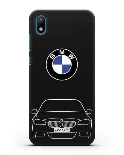 Чехол BMW 5 с автомобильным номером силикон черный для Huawei Y5 2019