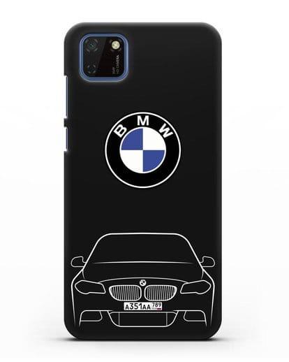 Чехол BMW 5 с автомобильным номером силикон черный для Huawei Y5P