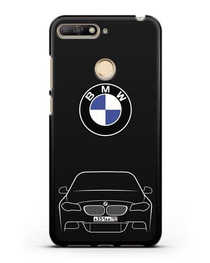 Чехол BMW 5 с автомобильным номером силикон черный для Huawei Y6 Prime 2018