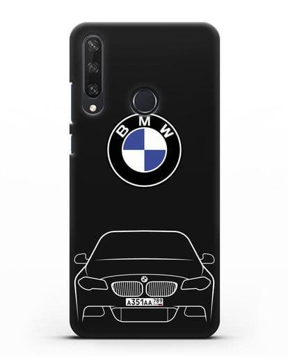 Чехол BMW 5 с автомобильным номером силикон черный для Huawei Y6P