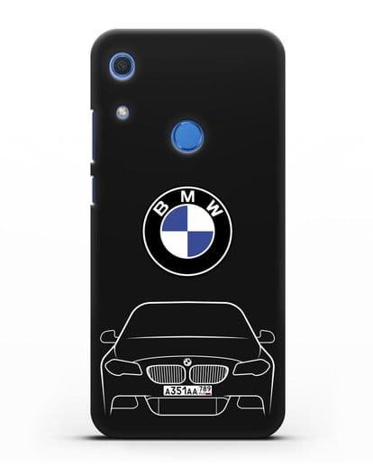 Чехол BMW 5 с автомобильным номером силикон черный для Huawei Y6s