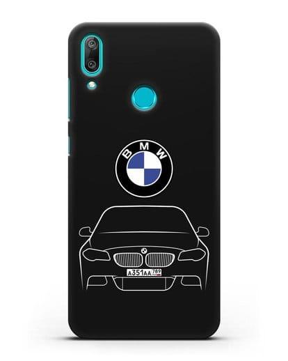 Чехол BMW 5 с автомобильным номером силикон черный для Huawei Y7 2019
