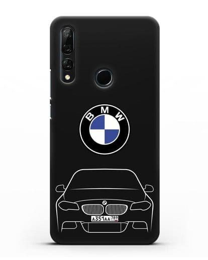 Чехол BMW 5 с автомобильным номером силикон черный для Huawei Y9 Prime 2019