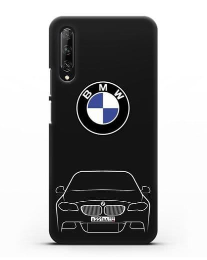 Чехол BMW 5 с автомобильным номером силикон черный для Huawei Y9s