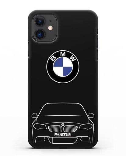 Чехол BMW 5 с автомобильным номером силикон черный для iPhone 11