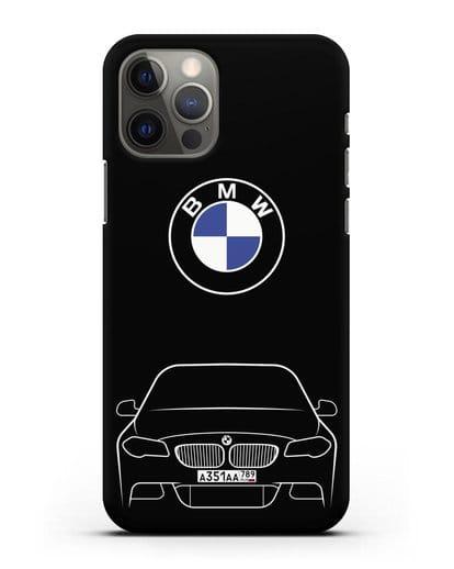 Чехол BMW 5 с автомобильным номером силикон черный для iPhone 12 Pro