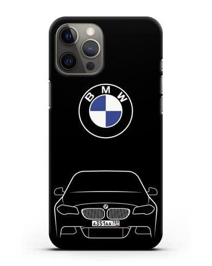Чехол BMW 5 с автомобильным номером силикон черный для iPhone 12 Pro Max