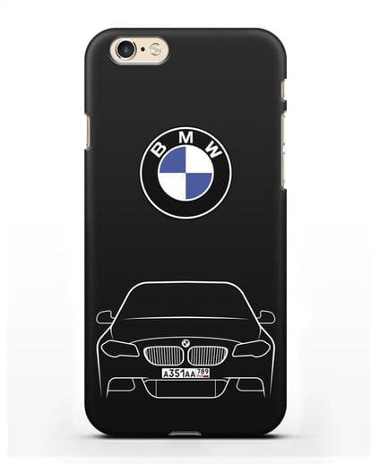 Чехол BMW 5 с автомобильным номером силикон черный для iPhone 6