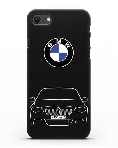 Чехол BMW 5 с автомобильным номером силикон черный для iPhone SE 2020