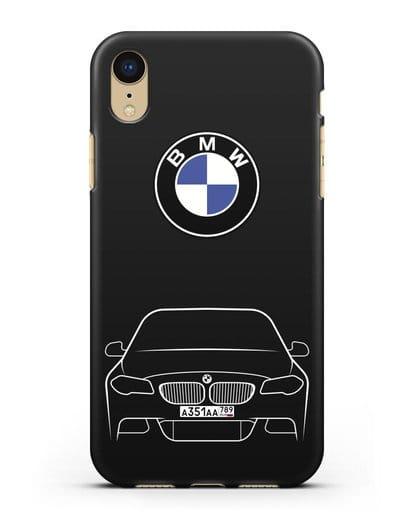Чехол BMW 5 с автомобильным номером силикон черный для iPhone XR