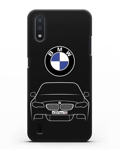 Чехол BMW 5 с автомобильным номером силикон черный для Samsung Galaxy A01 [SM-A015F]