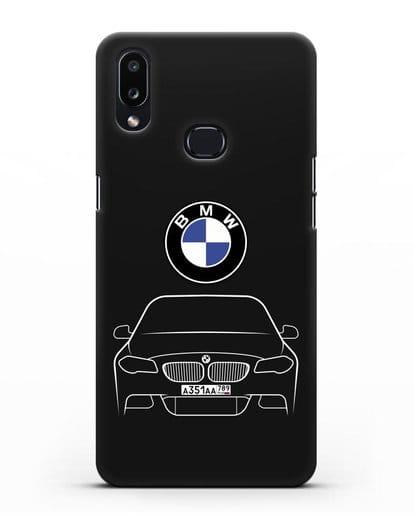 Чехол BMW 5 с автомобильным номером силикон черный для Samsung Galaxy A10s [SM-F107F]