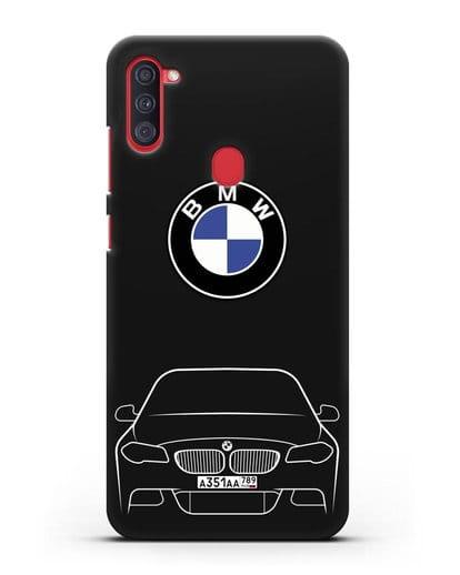 Чехол BMW 5 с автомобильным номером силикон черный для Samsung Galaxy A11 [SM-A115F]