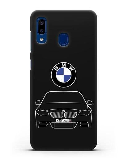 Чехол BMW 5 с автомобильным номером силикон черный для Samsung Galaxy A20 [SM-A205FN]