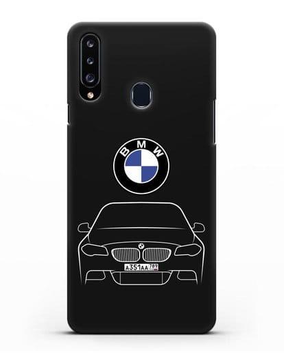 Чехол BMW 5 с автомобильным номером силикон черный для Samsung Galaxy A20s [SM-A207FN]