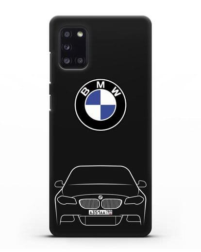 Чехол BMW 5 с автомобильным номером силикон черный для Samsung Galaxy A31 [SM-A315F]