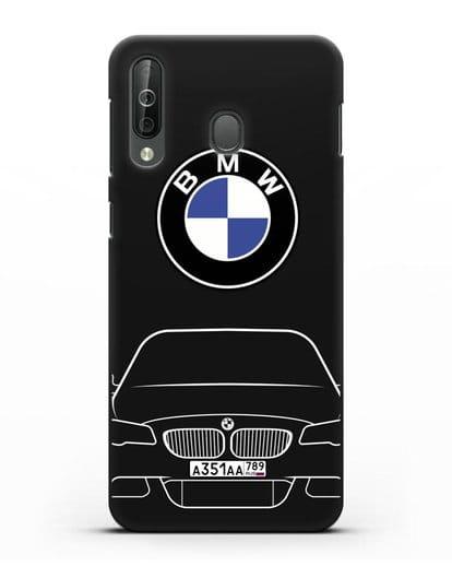 Чехол BMW 5 с автомобильным номером силикон черный для Samsung Galaxy A40s [SM-A507FN]